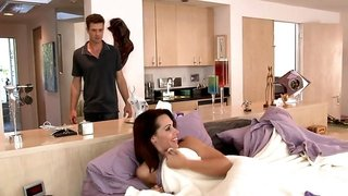 A sexy babe gets fucked by her best friends large husband
