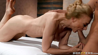 60 year-old gilf gets a facial after rough sex with a guy half her age.