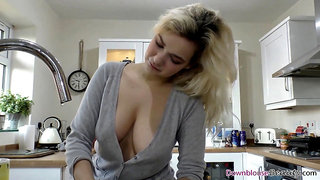 Blond and brunette washing the dishes with downblouse 1080p