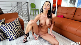 Solo wife toys pussy while sitting naked and energized