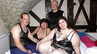 BBW Swinger wife used by 4 strangers