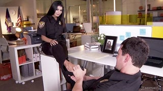 Sexy officer gets her feet fucked and jizzed at the police station
