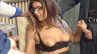 Karen Lancaume 2 dicks in one chick tempting secretary