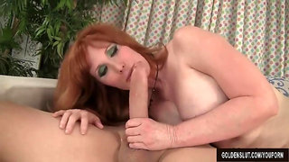 Redheaded grandma Freya Fantasia fucked rough