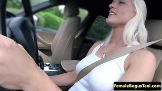 Euro cab babe sucking and tugging in public