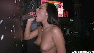 Hot Babe Sucking Big Dicks in GloryHole for Cash