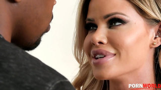 Bosomy blond Jessa Rhodes fucks big black cock