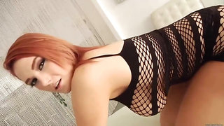 Gorgeous Redhead With Ample Breasts, Siri Was Wearing A Fishnet Dress And Expecting A Wild Fuck