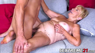 SEXTREME21 - Lingerie granny swallows cum after banging hot young stud