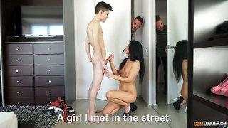 Hot slender leggy Latina from Romania Soraya Rico is fucked by two studs