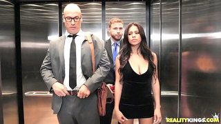 Autumn Falls fucked by her husband's employee in an elevator