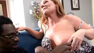 Cougar redhead unloads hard off a gigantic ebony cock