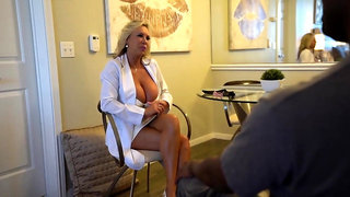 Experienced, blonde mature with big tits is sucking and riding a big, black meat stick