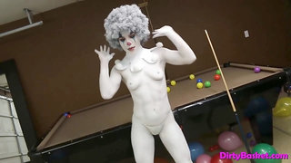 Magnificent stunner wears clown make-up and taunts