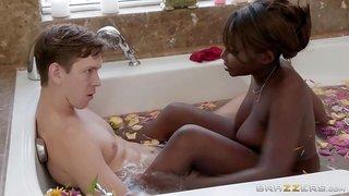 Nubian Stepmom With Juicy Melons Sucks Pink Cock In Bathtub