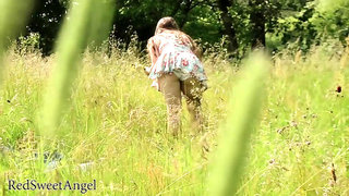RedSweetAngel - (PROMO) teen anal creampie in the nature