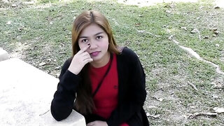 Asian sweetheart is picked up in public and asked to give a blowjob