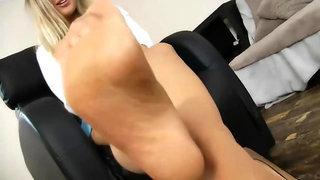 Sexy British Nylon Feet Teasing Joi