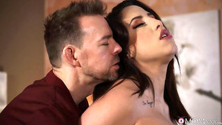 Sensual brunette with large boobs, most addictive fuck with her boss