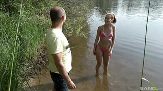 Keen teen gets the dick by the lake, and she loves it