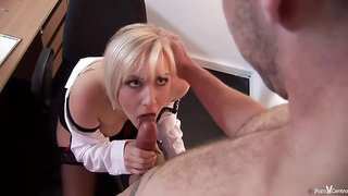 Amazing blonde secretary is wearing erotic corset and getting fucked from the back, in her office