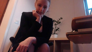 Mean Secretary Teases Jerry With Her Heels & Pantyhosed Feet