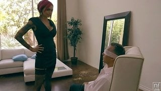 Extravagant emo bitch Anna Bell Peaks hooks up with one rich old dude