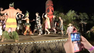 You have a great time at the luau with Jamie
