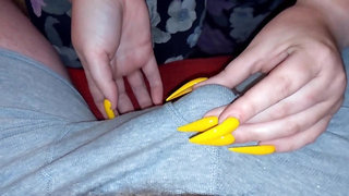 My Yellow Long Nails Lead To Premature Cumshot In Tight Underwear