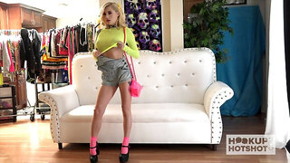 Lovely bright blonde gal Carolina Sweets flashes her natural tits during solo