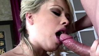 Wavy-haired blonde babe gets banged by hot, hung stud