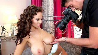 Curly brunette Dominno is riding on the dick