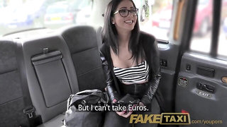 FakeTaxi Spanish brunette beauty with shaved pussy