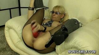 Norwegian Monicamilf in a nylon panty hose scene -  Norsk