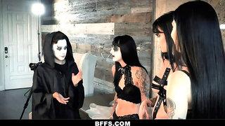 BFFS - Creepy Goth Teens Get Treated To Halloween Group Sex