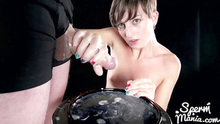 Marie Uses A Group Of Guys Cum For One Messy Handjob