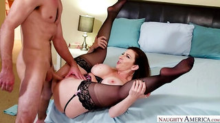 American Sara Jay fucking in the bedroom with her big tits