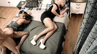 While wife sleeps unfaithful husband fucks her best friend next to her
