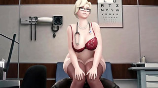 Cartoon Busty MILF interracial porn video