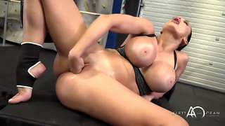 Big fake tits on sporty fit pornstar Aletta Ocean - Hungarian babe masturbates in gym after workout