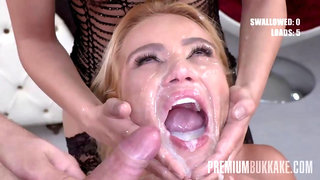 Premium Bukkake - Sherry Kiss gulps 70 huge mouthful cum loads