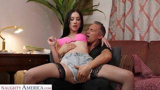 Hot and beautiful blowlerina in black stockings Jazmin Luv is fucked sideways