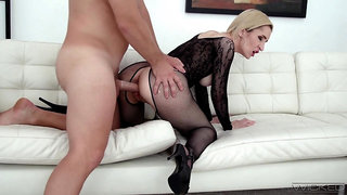 Wrapped in a crotchless bodystocking, Di Devi gets boned good