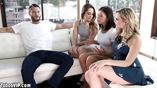 Teen invites bisex GFs to test her new lovers big cock