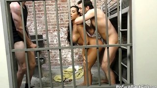 Arousing senorita with large boobs penetrated hard in the prison