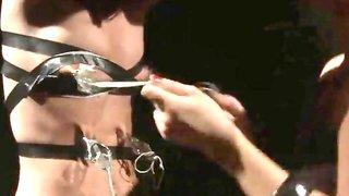Leather bound LEZDOM sub undergoes LEZDOM treatment