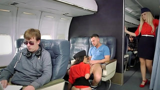 Amazing stewardess is giving oral pleasure to this passenger