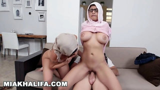 Mia Khalifa - Blasphemous Arab Babe With Big Tits Riding Dick In Hijab