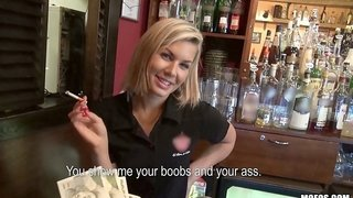 Perfect Ass Waitress Gets A Nice Tip For Being A Slut