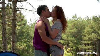 Wild outdoors fucking during camping with redhead Foxy Lee